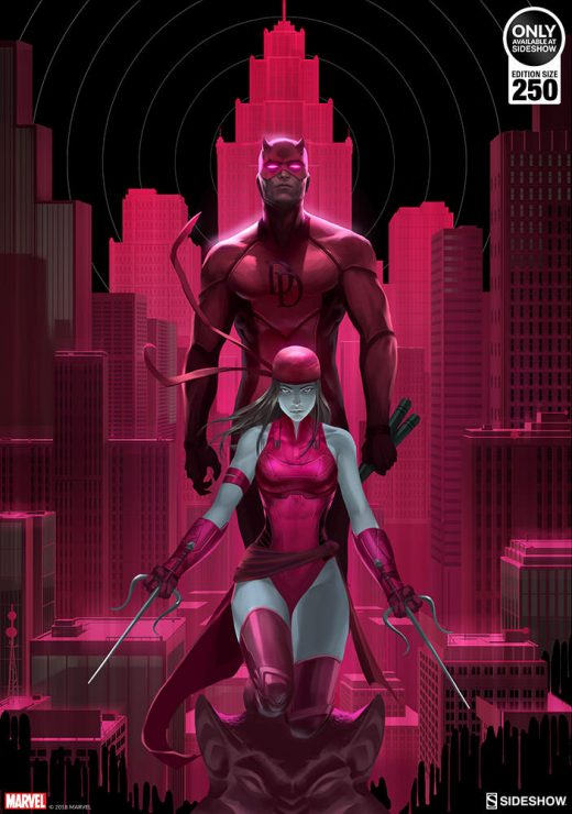 Daredevil & Elektra Glow in the Dark Fine Art Print