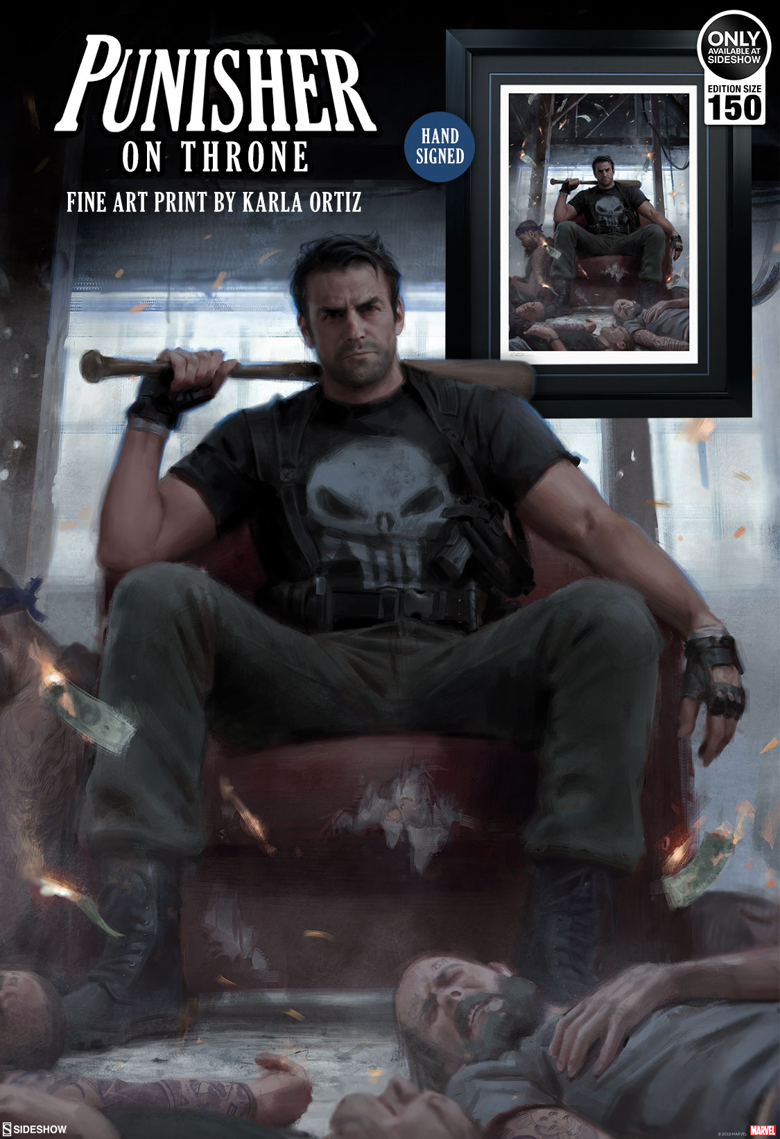 Punisher On Throne Fine Art Print Sideshow Collectibles