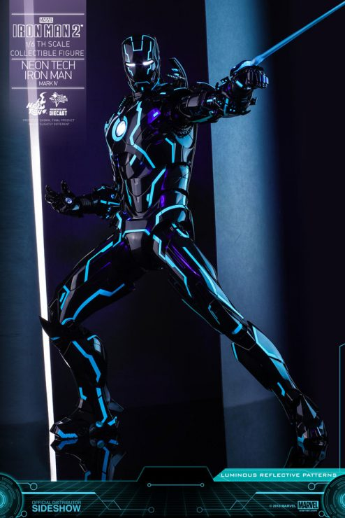 Neon Tech Iron Man Mark IV Diecast Sixth Scale Figure from Hot Toys