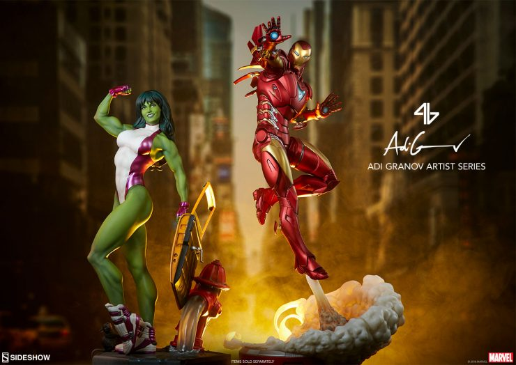She-Hulk Statue and Iron Man Extremis Mark II- Adi Granov Artist Series