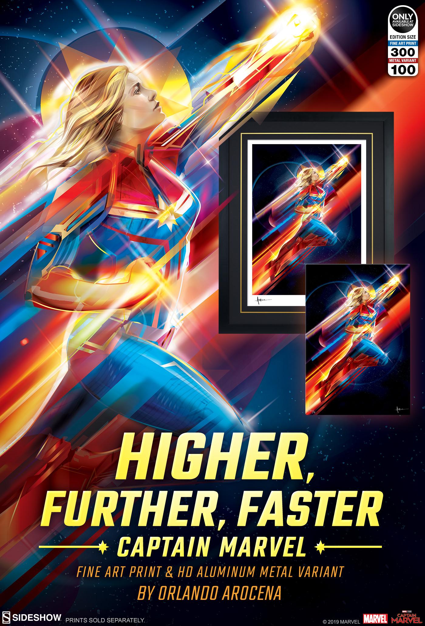 higher, further, faster captain marvel fine art print | sideshow