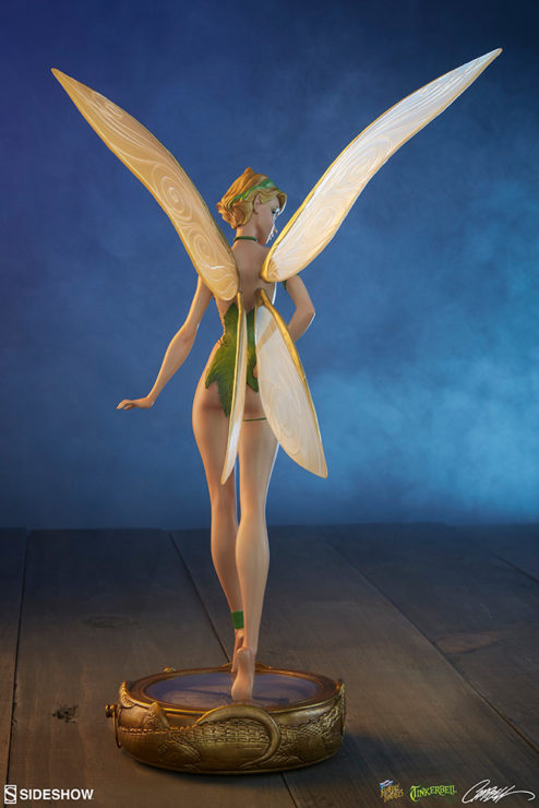 Tinkerbell Statue Dramatically Lit Shot from Behind