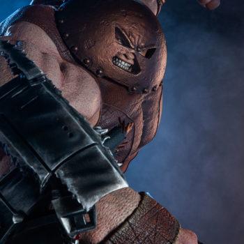 Sideshow's Juggernaut Maquette Punching Drama Shot