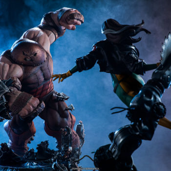 Sideshow's Juggernaut Maquette Displayed with Rogue Maquette in Danger Room Scene