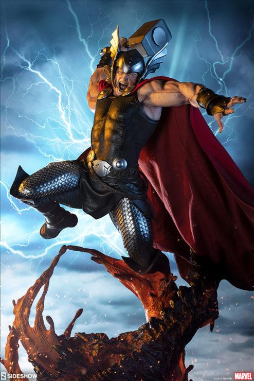 Thor Marvel Statue from Sideshow Drama Shot
