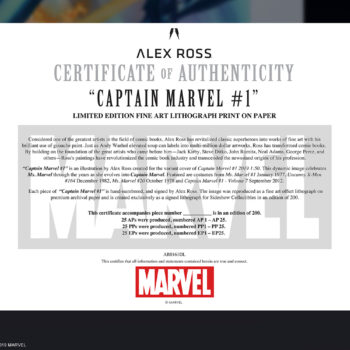 Captain Marvel #1 Fine Art Lithograph by Alex Ross