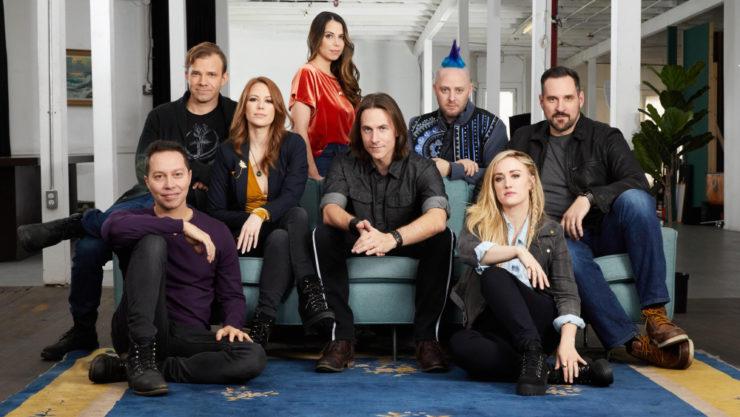 The cast of Critical Role group shot, including Matt Mercer, Travis Willingham, Ashley Johnson, Laura Bailey, Taliesin Jaffe, Liam O'Brien, Marisha Ray, and Sam Riegel