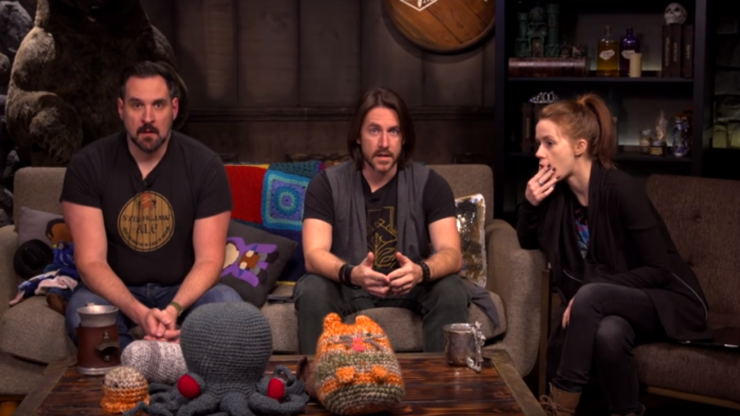 Matt Mercer, Marisha Ray, and Travis Willingham all sit in stunned silence in response to Kickstarter funding