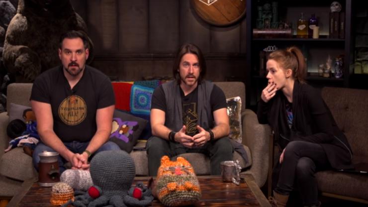 Matt Mercer, Marisha Ray, and Travis Willingham all sit in stunned silence in response to Kickstarter funding