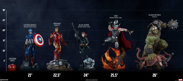 Gladiator Hulk Maquette Scale Comparison Shot with Iron Man Mark III Maquette, Captain America Premium Format Figure, Black Widow Premium Format Figure, and Thor: Breaker of Brimstone Premium Format Figure