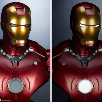 Iron Man Mark III Life-Size Bust Side by Side of Light features on and off