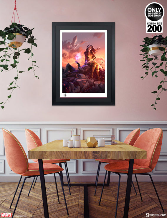 Black Framed Environment Shot of the Rogue & Gambit Fine Art Print by Fabian Schlaga