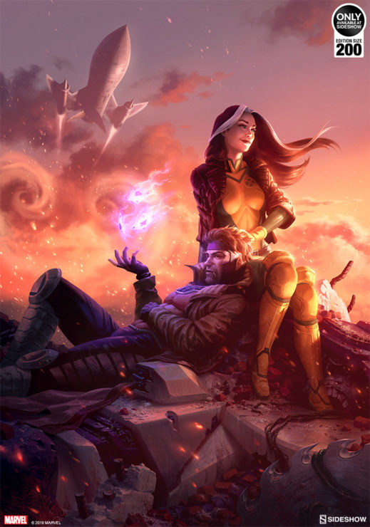 Fine Art Illustration of X-Men Rogue and Gambit sitting in rubble with the Blackbird Jet above