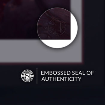 Embossed Seal of Authenticity on Rogue & Gambit Fine Art Print by Fabian Schlaga