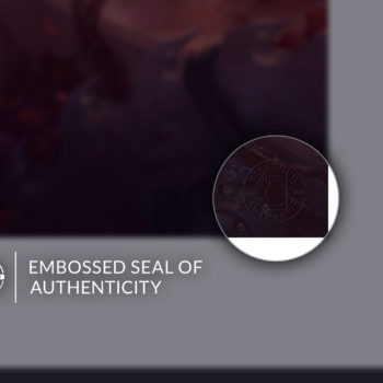 Embossed Seal of Authenticity on Unframed Rogue & Gambit Fine Art Print by Fabian Schlaga