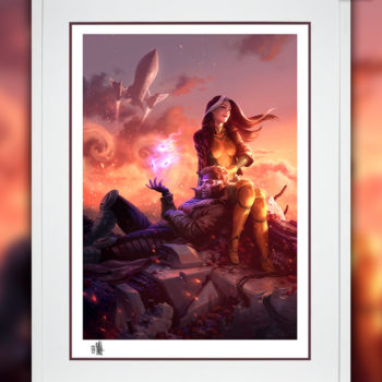 White Frame Sample of Rogue & Gambit Fine Art Print by Fabian Schlaga