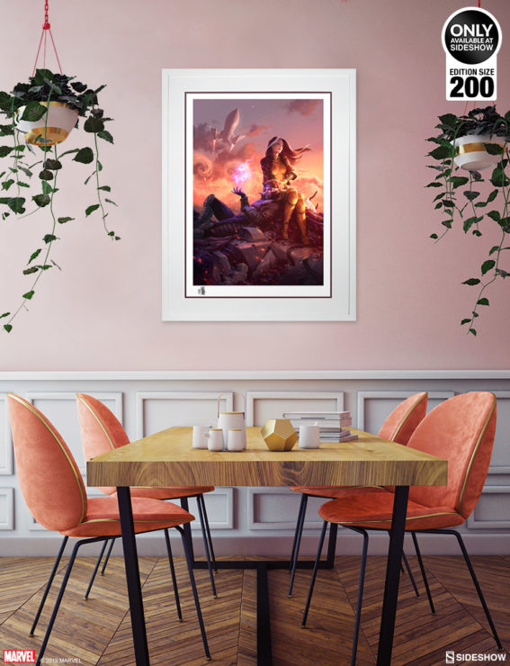 White Framed Environment Shot of the Rogue & Gambit Fine Art Print by Fabian Schlaga
