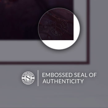 Embossed Seal of Authenticity on the White Framed Rogue & Gambit Fine Art Print by Fabian Schlaga