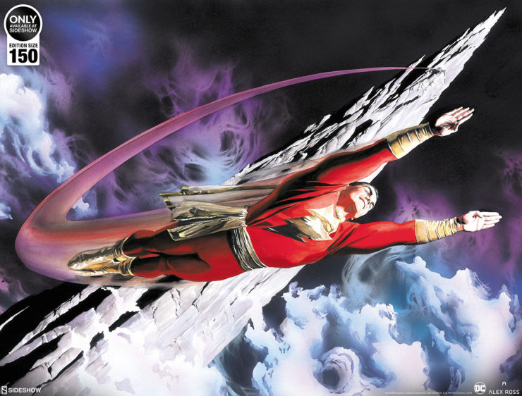 Take Flight with the SHAZAM! The World's Mightiest Mortal Fine Art Lithograph by Alex Ross