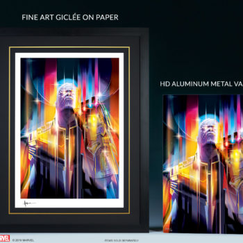 Comparison Side-by-Side of Paper Edition Print and HD Metal Print for Thanos: Infinity War by Orlando Arocena