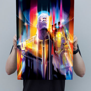 Scale Reference Shot of Person Holding the Thanos: Infinity War HD Aluminum Metal Print by Orlando Arocena