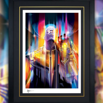 Framed Black Version of the Thanos: Infinity War Fine Art Print by Orlando Arocena