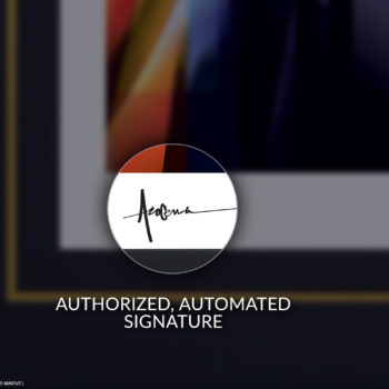 Authorized, Automated Pencil Signature for Black Framed Thanos: Infinity War Fine Art Print by Orlando Arocena