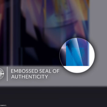 Embossed Seal of Authenticity on Unframed Thanos: Infinity War Fine Art Print by Orlando Arocena
