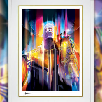 White Framed Edition Thanos: Infinity War Fine Art Print by Orlando Arocena