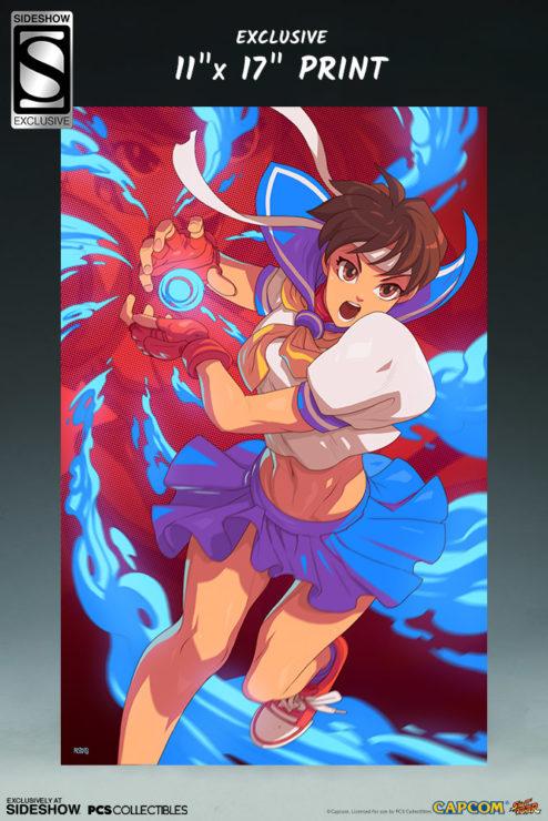 Sakura Classic Statue from PCS Collectibles- Exclusive Art Print of Sakura Performing Shinku Hadoken Attack