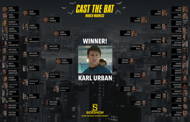 Sideshow's Cast the Bat Winner: Karl Urban