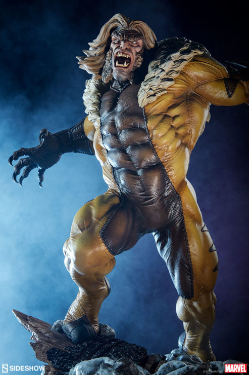 Sabretooth Premium Format™ Figure Dramatic Environment Shot with Dark Blue background