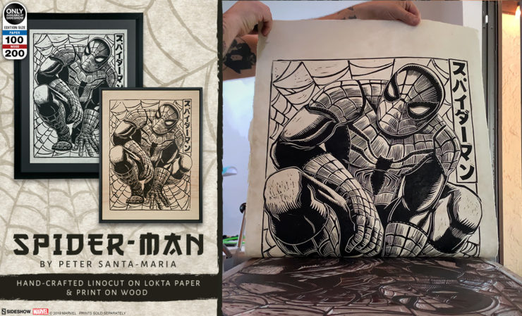 Spider-Man Linocut on Lokta Paper by Peter Santa-Maria
