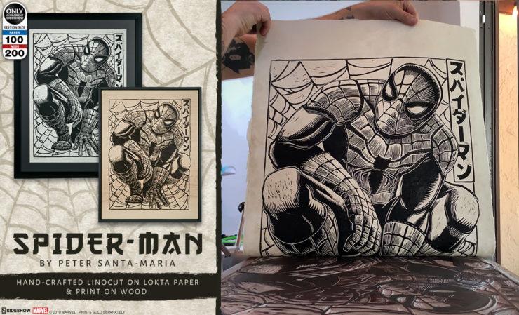 Spider-Man Linocut on Lokta Paper and Wood Variant Fine Art Print
