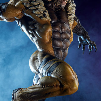 Sabretooth Premium Format™ Figure Dramatic Lit Profile Shot with Blue Background
