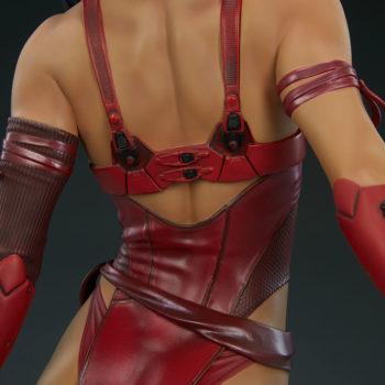 Elektra Premium Format Figure Back View Outfit closeup