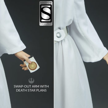 Princess Leia Premium Format™ Figure Exclusive Edition Comparison between Hand with Death Star Plans and Without