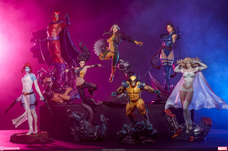 Sideshow's X-Men Collection featuring Magneto, Wolverine, Rogue, X-23, Psylocke, Mystique, and Emma Frost