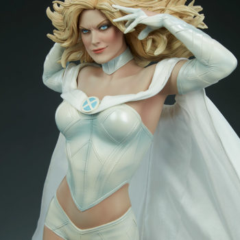Emma Frost Premium Format Figure Front View as she glares out at you showing off her whole outfit