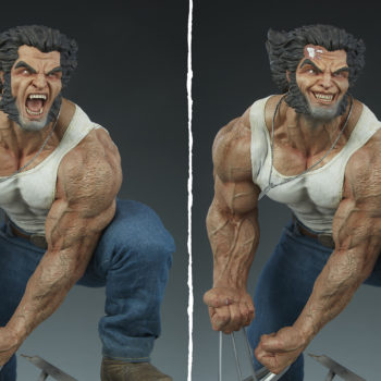 Logan Premium Format™ Figure Exclusive Edition Portrait Comparison between Collector Edition Snarl and Exclusive Battle Damage