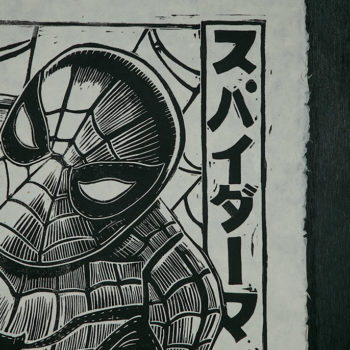 Spider-Man Linocut on Lokta Paper by artist Peter Santa-Maria Unframed Detail Shot 1