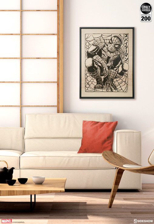 Spider-Man Framed Print on Wood by artist Peter Santa-Maria Environment Shot