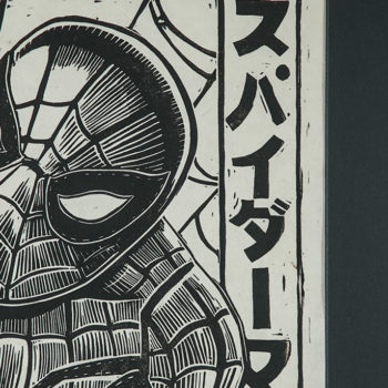 Spider-Man Linocut on Lokta Paper by artist Peter Santa-Maria Framed in Black Close Up