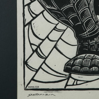 Spider-Man Linocut on Lokta Paper by artist Peter Santa-Maria Framed in Black Close Up 2
