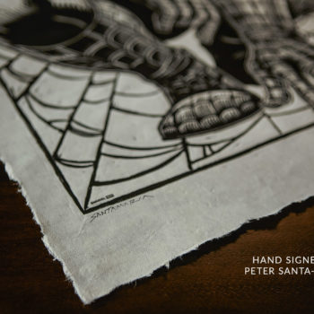 Spider-Man Linocut on Lokta Paper by artist Peter Santa-Maria Unframed Hand-Signature Shot