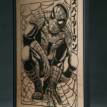 Spider-Man Framed Print on Wood by artist Peter Santa-Maria