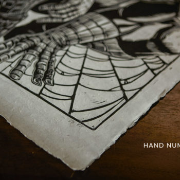 Spider-Man Linocut on Lokta Paper by artist Peter Santa-Maria Unframed Hand-Numbering Shot