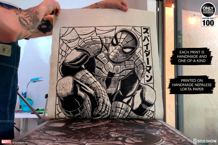 Spider-Man Linocut on Lokta Paper by artist Peter Santa-Maria Hand-Pressing on Lokta Paper