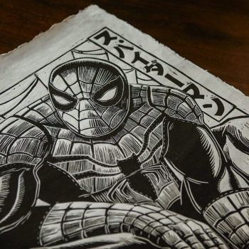 Spider-Man Linocut on Lokta Paper by artist Peter Santa-Maria Unframed Close Up Detail Shot 2