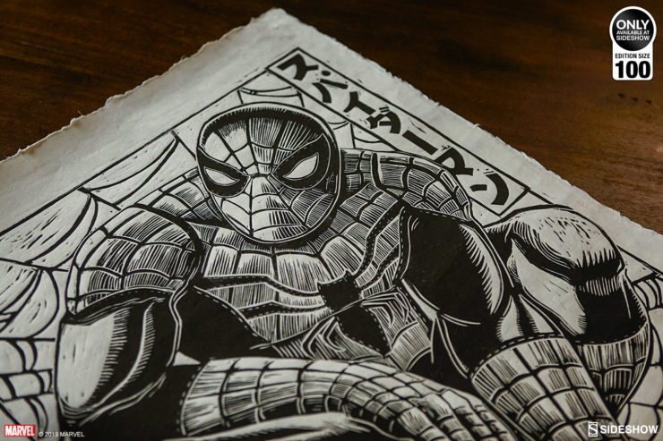 Web Up Your Wall With the Spider-Man Linocut on Lokta Paper and Framed Print on Wood by Peter Santa-Maria